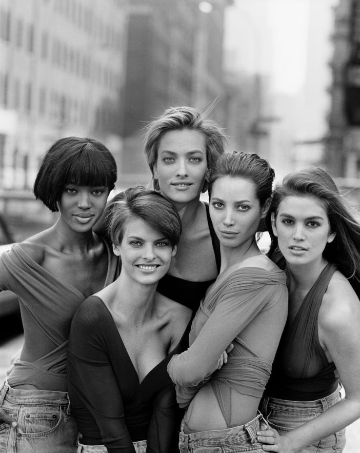 CHRISTY TURLINGTON, CINDY CRAWFORD, LINDA EVANGELISTA, NAOMI CAMPBELL, TATJANA PATITZ, VOGUE GREAT BRITAIN, NEW YORK, USA, 1989